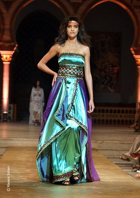 Robe kabyle moderne en rose et vert