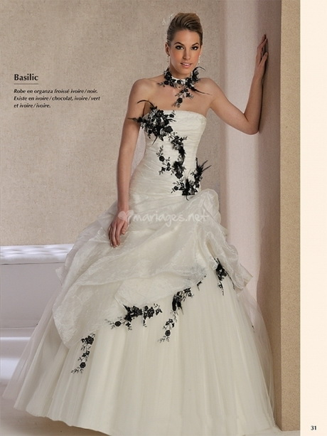 robe de mariage noir et blanc. Black Bedroom Furniture Sets. Home Design Ideas