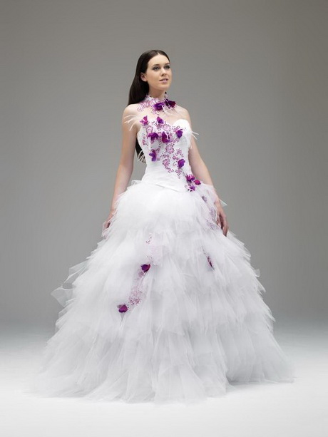 Robe de mariée création Annie Couture modèle Arome blanc fushia ...