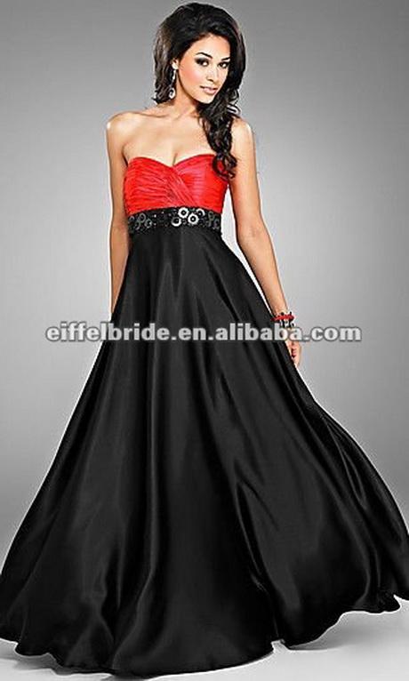 ... haut de gamme noir et rouge perlé robe de soirée décent-Robe de
