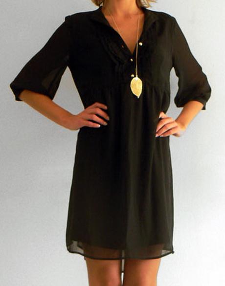 robe fluide noire. Black Bedroom Furniture Sets. Home Design Ideas