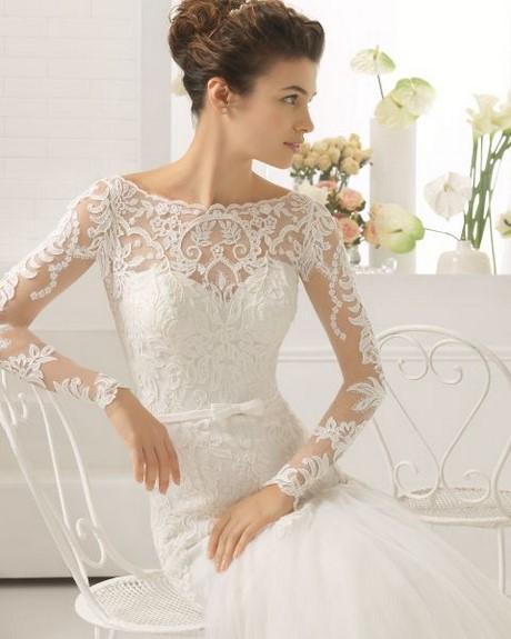 60 Robe de mariée appliques dentelle manche longue perle manche ...