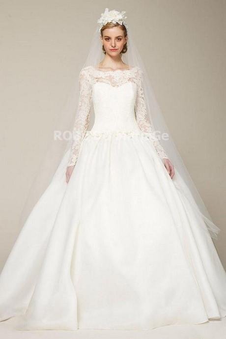 Robe de mariée avec manche longue fermeutre eclair de traîne longue ...