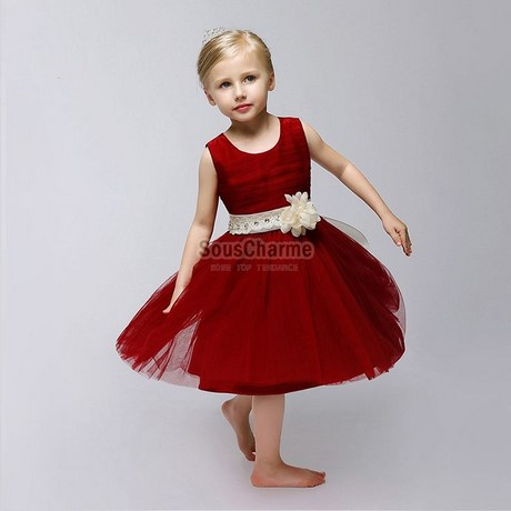 Robe princesse rouge fille for Fleurs fille robes mariage