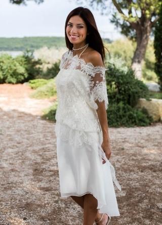 Robe mariage civil courte dentelle for Robe de mariage en trou de serrure lazaro