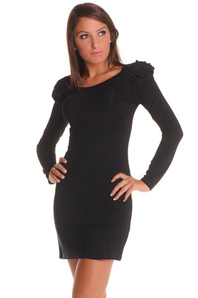 robe noire chic manche longue. Black Bedroom Furniture Sets. Home Design Ideas