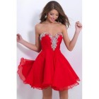 Robe cocktail rouge courte