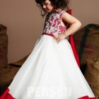 Robe ceremonie fille blanc et rouge