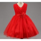 Robe de ceremonie rouge fille