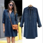 Robe denim manches longues