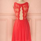 Robe cocktail mariage corail